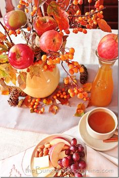Gorgeous Fall Decorating Ideas!  Bittersweet with apples and pine cones!