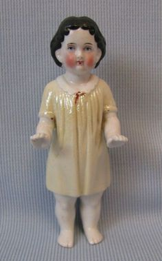 5 Early Frozen Charlotte c1880 MOLDED DRESS Lustre-Glazed Porcelain Doll