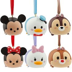 Disney ''Tsum Tsum'' Ornament Set - Mickey Mouse, Minnie Mouse, Donald Duck, Daisy Duck, Chip and Dale