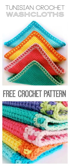 Crochet Stitches Tunisian crochet tunisian Tunisian Stitch Washcloths Free Crochet Pattern - This Tunisian Stitch Washcloths Free Crochet Pattern is very easy to learn and very satisfying to hook up. You can do this even as a beginner. Crochet Afghans, Tunisian Crochet Patterns, Crochet Dishcloths, Crochet Patterns For Beginners, Knitting Patterns, Lace Patterns, Lace Knitting, Knitting Tutorials, Crochet Granny