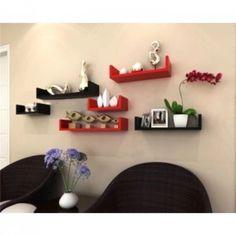 Onlineshoppee Wooden Handicraft Wall Decor Designer Wall Shelf Pack of 6 Black…