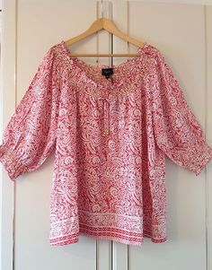 Ladies Gypsy Style Red and White Print Blouse Top