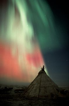 Northern lights, Aurora borealis, over a Nenets reindeer herders ...