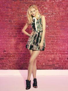 #HunterDixon Black Ace Print Silk Hudson Dress with white silk collar Summer 2012
