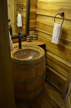 Cool barrel sink Rustic Bathroom Designs, Rustic Bathrooms, Bathroom Interior Design, Whiskey Barrel Sink, Barrel Bar, Whiskey Barrels, Bourbon Barrel, Wine Barrel Sink Bathroom, Indoor Outdoor