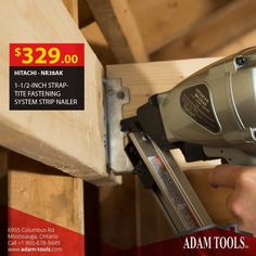 """Get It Now The Hitachi 1-1/2"""" Strap-Tite Fastening System Strip Nailer is $329 at Adam Tool Inc! Order https://www.adam-tools.com/hitachi-nr38ak-1-1-2-inch-strap-tite-fastening-system-strip-nailer.html #canada #mississuaga #power_tools #building_supplies #adamtools #shop_online #buy_online #hitachi #nailor #fasteners"""