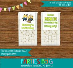 Minions Birthday Mints Tic Tac Labels Party Favors Personalized Custom