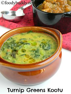 Turnip Greens Kootu Recipe is a south Indian traditional dal made from turnip greens and moong dal. Goes well with hot steamed rice and papad.