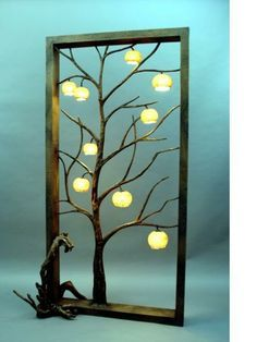 hanji-lampe. enchanted tree with light up apples.