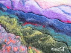 I added some free-motion quilting to my felted landscape. Free Motion Quilting, Work Inspiration, Keepsakes, Quilts, Landscape, Pattern, Painting, Souvenirs, Scenery