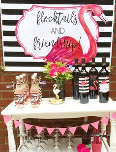 Let's Flamingle with flocktails {aka pink cocktails} and friendship. Click to see how to plan a pink flamingo inspired party. It's a pink party that can be for kids or adults. An original party design by Giggle Living / flamingo party / flamingle party ideas/ pink and black barcart styling #barcartstyling #flamingoparty #flamingle