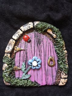 Faerie / Fairy Door Pink door with Blue by HeathersCraftStudio