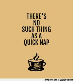 THERES NO SUCH THING AS A QUICK NAP.  Make your own quotes at http://quote4fun.com/?socialref=pidesc