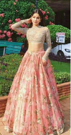 Dresses - Two Piece Lace Prom Dress Indian Gold And Pink Prom Dress With Sleeve Indian Gowns Dresses, Indian Fashion Dresses, Dress Indian Style, Prom Dresses With Sleeves, Indian Designer Outfits, Pakistani Dresses, Designer Dresses, Dress Prom, Bollywood Dress
