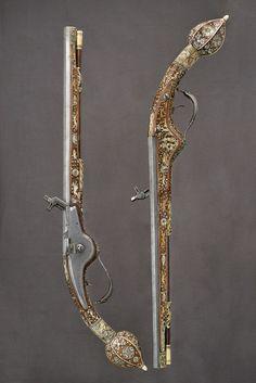 An ornate pair of wheel-lock pistols originating from Saxony, mid 17th century.
