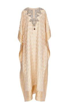 Badgley Mischka Gold Embroidered V-Neck Caftan by Badgley Mischka for Preorder on Moda Operandi