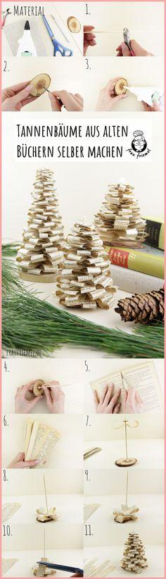 Skandi Deko für Weihnachten - Tannenbaum falten aus alten Büchern - Schritt für Schritt erklärt.  Einfaches Buchorigami, auch als DIY Weihnachtsgeschenk geeignet. Die DIY Tannenbäume können auch toll für den Adventskranz oder für ein  Adventskranz genutzt werden. Natürliche und schlichte Weihnachtsdeko  entdecken!