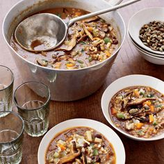 The Good News Based on a brothy tortilla soup, this fiery, substantial soup is full of nutty-tasting barley, brown rice and bulgur, creating a dish th...
