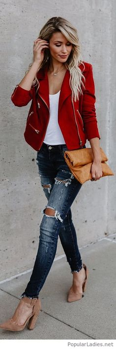 White top, jeans and red jacket