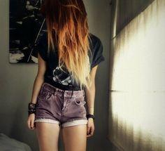 Dip dye/Red, orange hair