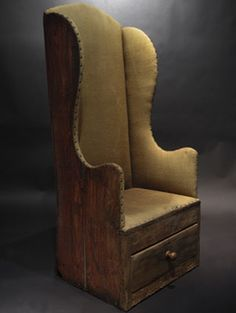 Make-do chair - LOVE this!  Looks like its from an old bureau. . . . What a great idea.