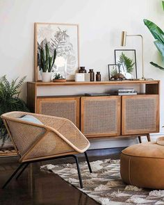 retro home decor MODERN MEETS RETRO Theres no denying that Rattan has made a comeback Serious room envy here - especially that Anja Buffet Shop the look now! Home Living Room, Living Room Designs, Living Room Furniture, Home Furniture, Living Room Decor, Furniture Design, Retro Furniture, Cheap Furniture, Furniture Stores