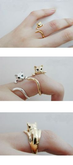 14 karat cat ring totally would wear the silver one :) Cat Jewelry, Jewelery, Jewelry Accessories, Fashion Accessories, Jewelry Design, Fashion Jewelry, Geek Jewelry, Unique Jewelry, Bling Bling
