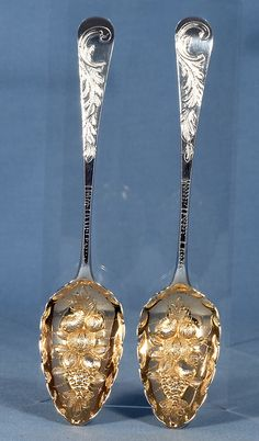A Fantastic Pair of Georgian George III Sterling Silver Berry Spoons London 1799 by George Smith (II) & Thomas Hayter