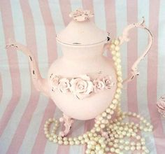 Pearls with a Pink Vintage Tea Pot