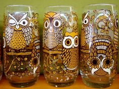 vintage owl glasses...EEEEEK! I am dying!