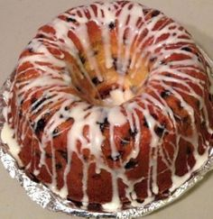 Blueberry Cream Cheese Pound Cake.   Made today for a meeting.  I baked a few minutes longer because I added more blueberries.  Delicious!!