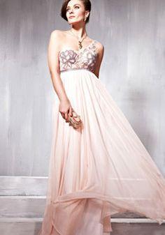 Appliques Pleats tencel Empire Floor-length Evening Dress picture 1