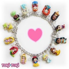 ♥ This listing is for one(1) Disney Princess charm bracellet, that comes with seven(7) beautiful disney princesses fully handmade in polymer clay.
