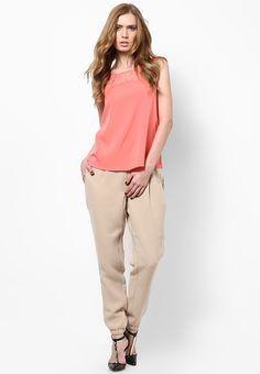 7c26fff2a7a Buy Vero Moda Beige Solid Regular Fit Coloured Pants Online - 5751179 -  Jabong