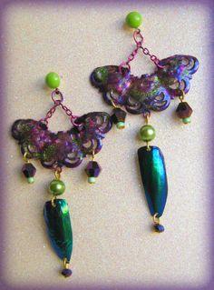Asian Fan Beetle Wing Earrings. $50.00, via Etsy.