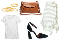 Date-night outfit idea: a dressy skirt, white T-shirt, fringe bag, and artsy heels