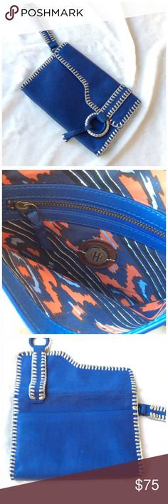 """ANTHROPOLOGIE CLUTCH Holding horses for Anthropologie. Very soft pebbled royal blue leather with silver leather trim.  Two strong magnetic clasp. 9.5"""" x 6.5"""" x 1"""". Never used. Anthropologie Bags Clutches & Wristlets"""