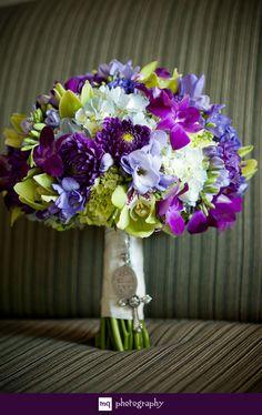 purple, blue, green wedding day bouquet  www.mqphotography.net