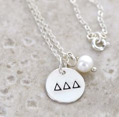 DELTA DELTA DELTA Sterling Silver Hand Stamped Charm Necklace by CatalinasTreasures, $30.00  Tri Delt  freshwater pearl  disc  circle  sterling silver chain