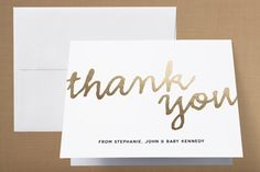 A Simple Hello Foil-Pressed Birth Announcement Thank You Cards  by Jessica Booth at minted.com