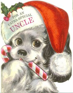 Vintage Hallmark Christmas Card, Puppy with Santa Hat and Candy Cane, Uncle