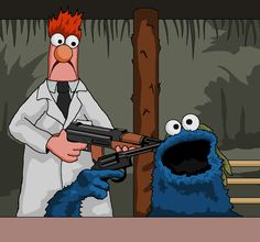 Deer Hunter Russian Roulette Scene with the Cookie Monster and Beaker - Jim'll Paint It