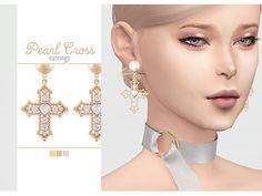 The Sims 4 Pearl Cross Earrings