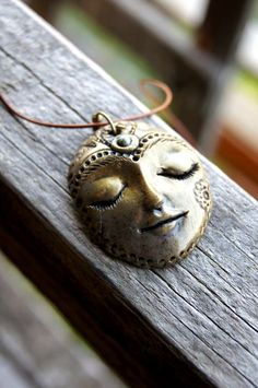Turquoise Goddess Gorgeous Polymer Clay Face Pendant by TRaewyn