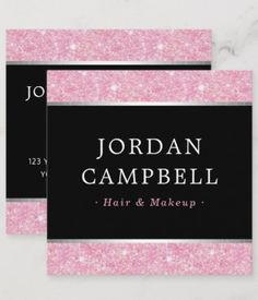 Shop Pink glitter silver borders black square business card created by TheStationeryShop. Personalize it with photos & text or purchase as is!