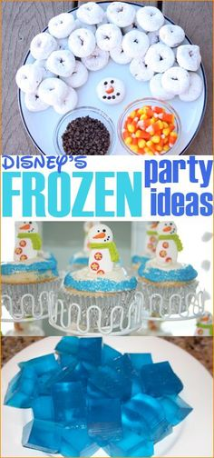 Frozen Birthday Party.  Party decorations, food and party favors for a Frozen themed party.  Olaf themed food and thank you gifts.  Perfect party theme for Elsa, Anna and Olaf fans.  Disney Princess Party Ideas.  Frozen fever!
