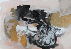 peach gold and black abstract watercolor original by JulesTillman
