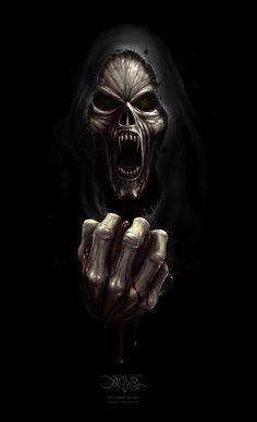 This is cool reminds me of middle school band Red Reaper Grim Reaper Art, Don't Fear The Reaper, Dark Fantasy Art, Dark Art, Dont Break My Heart, Reaper Tattoo, Totenkopf Tattoos, Skull Pictures, Skulls