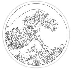 """""""Minimalist Great Wave"""" Stickers by nixxlx Hand Embroidery Projects, Hand Embroidery Patterns, Diy Embroidery, Cross Stitch Embroidery, Ocean Drawing, Wave Drawing, Minimalist Drawing, Stickers, Tattoos"""