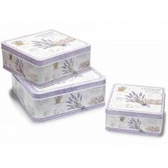 Set di 3 scatole in latta metallo contenitori casa lavanda shabby